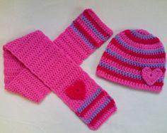 Crochet Baby Toddler Kids Hat and Scarf Set por TatjanaBoutique