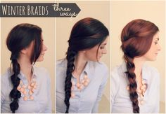3 easy braids-I have really long hair and braids are my go to style for second day hair. I've seen some of these before, but the video is super easy and helpful and gave me some new tips to try.