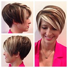 Cute Hairstyles For Short Hair, Pixie Hairstyles, Pixie Haircut, Short Hair Cuts, Short Hair Styles, Pixie Cut With Highlights, Chunky Highlights, Frosted Hair, Inverted Bob