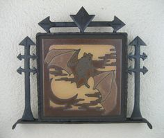 arts and crafts bat tile plaque in hammered by Bushereironstudio, $395.00