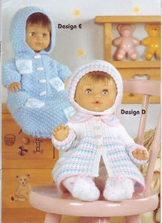Ideas Crochet Baby Doll Clothes Dresses For 2019 Knitted Doll Patterns, Doll Patterns Free, Knitted Dolls, Doll Clothes Patterns, Knitting Patterns, Free Pattern, Crochet Patterns, Knitting Ideas, Free Knitting