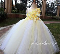 White Baby Yellow Flower Girl Tutu Dress by coloranglesBoutique, $49.00