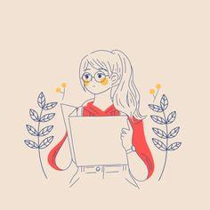 Free Art - Woman holding a guidebook or map - Mixkit Korean Illustration, Cute Illustration, Character Illustration, Graphic Design Illustration, Illustration Fashion, Portrait Illustration, Character Art, Character Design, Arte Sketchbook