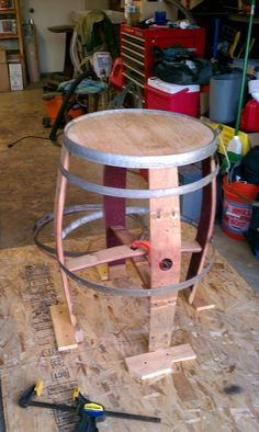 Work in progress, upcycled wine barrel made into barrel art table. Stay tuned..