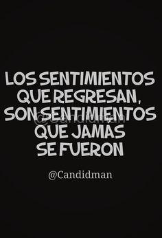 Los sentimientos que regresan son sentimientos que jamás se fueron. @Candidman #Frases Amor Candidman Reflexiones Sentimientos @candidman