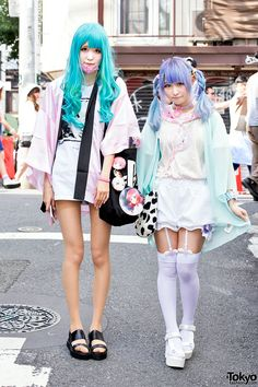 Jyuria (18) and Colomo (19) on the street in... | Tokyo Fashion