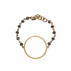 Gold Circle Cutout on Grey Beaded Bracelet - Large Gold Quatrefoil Cutout Earrings - Beaucoup Designs Silhouette Collection features time proven shapes combined with beads, pearls, chains and leather. #festivalstyle #ss2016 #goldjewelry #jewelry