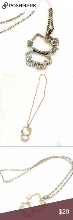 "Hello Kitty Rhinestone Necklace No missing Rhinestones. Chain measures approximately 17"" and pendant about 1.5"". EUC Hello Kitty Jewelry Necklaces"