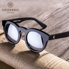 6b36e2ad1e4 COLOSSEIN Polarized Label Sports Sunglasses Fashion Sun glasses Women  Classic Round Black Frame Glasses Personality Cool