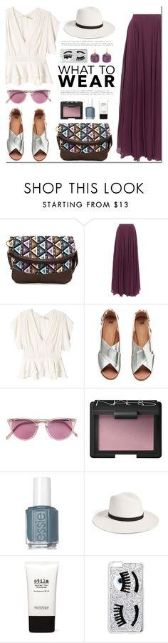 """What to wear"" by mada-malureanu ❤ liked on Polyvore featuring Halston Heritage, Rebecca Taylor, The Row, NARS Cosmetics, Essie, Janessa Leone, Stila, Chiara Ferragni, Pomellato and purple"