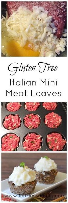 Italian Gluten Free Meatloaf Recipe These Gluten Free Italian Mini Meat Loaves are a fun spoof for kids because they look like cupcakes. Full of protein and nutrition for a healthy dinner. via Fearless Dining Easy Gluten Free Recipes Gf Recipes, Dairy Free Recipes, Italian Recipes, Gluten Free Recipes Hamburger, Turkey Recipes, Salmon Recipes, Gluten Free Meatloaf, Meat Loaf Recipe Easy, Sem Lactose