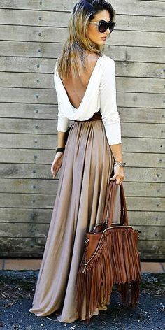 Sexy Split Joint Long Sleeve Round Neck Off-Back Loose Maxi Dress
