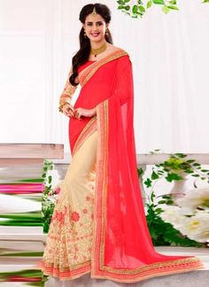 Amazing Pink  And Cream Half N Half Embroidery Work Designer Sarees  http://www.angelnx.com/Sarees