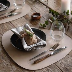 """LIND DNA on Instagram: """"In the mood for a cozy  brunch? Use our signature curve table mat in colour: Sand 🥐☕️🍴#linddna #recycledleather #sustainability…"""" Recycled Leather, Dna, Placemats, Brunch, Cozy, Dining, Tableware, Sustainability, Branding"""