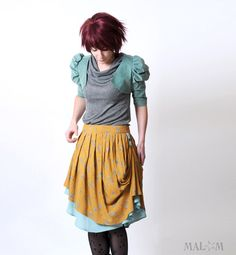 Pleated skirt - Mustard pattern - vintage print floral mustard and blue, assymetrical.
