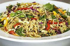 Asian Noodle Salad  Adapted from Jamie Oliver, this salad is a triumph. A total winner. An explosion of color, flavor, and texture. And the beauty of this salad is, you can just wing it, adjusting the ingredients of the salad or the dressing as you like.