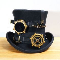 Cheap fedora hat, Buy Quality steampunk hat directly from China hat fedora Suppliers: Steampunk Hat Steam Punk Vintage wool Gear fedoras hat millinery goggles hand made Steampunk Cosplay, Moda Steampunk, Viktorianischer Steampunk, Steampunk Clothing, Steampunk Goggles, Modern Steampunk Fashion, Steampunk Weapons, Gothic Clothing, Steampunk Necklace