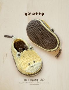 Giraffe Baby Booties Crochet PATTERN Kittying Crochet Pattern by kittying.com from mulu.us  This pattern includes sizes for 0 - 12 months.