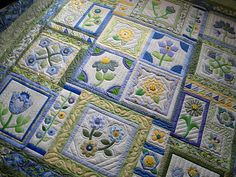 Blue white & yellow...so sweet ....gorgeous applique quilt ...