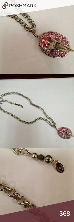 Original Tarina Tarantino Claw Spike Necklace Magical! Silver link chain with Sworvaski AB and Pink Crystal Claw Spike Medallion hanging down. Definitely statement piece with protection. A must have for all  Tarina lover's. Tarina Tarantino Jewelry Necklaces