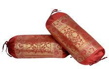 Indian Silk Sofa Cushion Covers Elephant Brocade Bolster Pillow Neck Roll Set