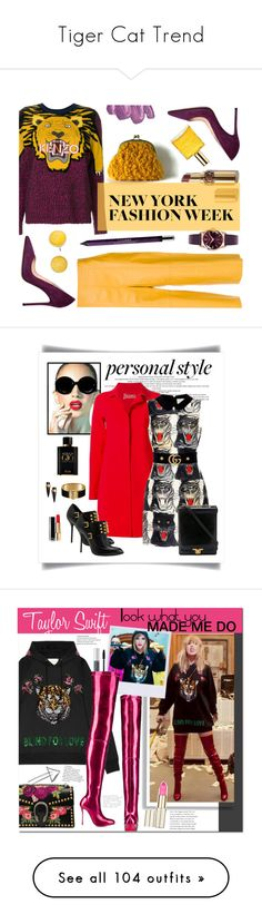 """""""Tiger Cat Trend"""" by yours-styling-best-friend ❤ liked on Polyvore featuring girl, animalprint, tiger, safary, Kenzo, nk, By Terry, Henry London, Gianvito Rossi and Kate Spade"""