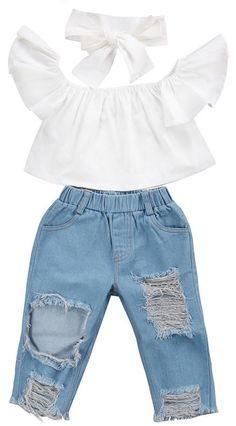 Moonker Kids Outfits,Toddler Baby Girls Off Shoulder Crop Tops Hole Denim Pant Jean Headband Clothes Baby Girl Fashion, Toddler Fashion, Fashion Kids, Fashion Clothes, Style Fashion, Fashion 2016, Man Clothes, Clothes Sale, Fashion Wear