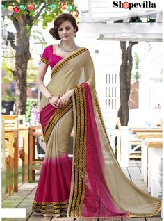 Beige & Pink Contrast Colour Satin Chiffon Saree-20013