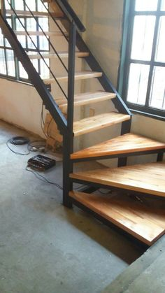 home stairs design ideas can attract the eyes. Choose between an art gallery, unique runner, and vintage design for your stairs. Stair Railing Design, Home Stairs Design, Interior Stairs, House Design, Small Space Staircase, Loft Staircase, House Stairs, Rustic Stairs, Industrial Stairs