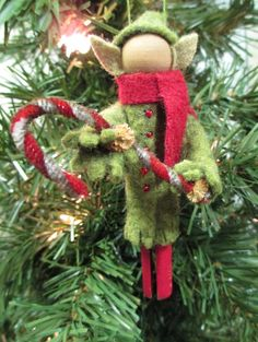 Elf Christmas Ornament, Clothespin - Olive Green via Etsy. Christmas Ornaments To Make, Noel Christmas, Craft Stick Crafts, Christmas Projects, Handmade Christmas, Holiday Crafts, Christmas Decorations, Clothes Pin Ornaments, Little Doll