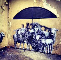 "New work from Levalet - ""Pastorale (The Shepard)"" - Paris, France - Jan 2015"