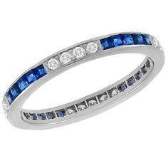 Estate 0.35ct Round Cut Diamond 0.80ct Square Cut Sapphire Eternity Platinum Wedding Band