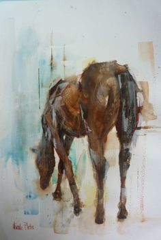 Nicole Pletts Horse Watercolour and Inks Cow Art, Horse Art, Watercolor Horse, Watercolor Ideas, Animal Paintings, Horse Paintings, Equine Art, Painting Inspiration, Illustration Art
