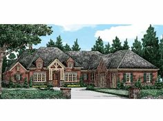 Frank Betz Associates, Inc. The Glen Abbey House Plan One Level House Plans, Dream House Plans, Dream Houses, French Country House Plans, European House Plans, Country French, Cottage House Designs, Cottage Homes, Cottage Style