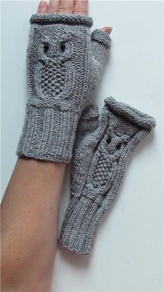 Owl Fingerless Mittens / Cable Knit Fingerless Gloves / Winter Fashion Accessories / Ready to shipping Sale Owl Fingerless Mittens // Cable Knit Fingerless by iloveknit Owl Knitting Pattern, Knitted Mittens Pattern, Knitted Owl, Cable Knitting Patterns, Knit Mittens, Hat Patterns, Knitting Tutorials, Loom Knitting, Cable Pattern Free