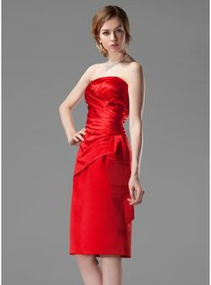 Sheath/Column Strapless Knee-Length Satin Bridesmaid Dress With Ruffle $86.99