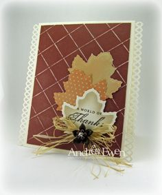 This is such a pretty card, and would be a fun Thanksgiving card too.  By - http://www.ewenstyle.com/2010/10/heart-2-heartleaves.html