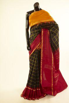 Kancheepuram, Kanjipuram- black silk saree with blouse Indian Ethnic Wear, Indian Style, Black Saree, Draping, Black Silk, Formal Wear, My Wardrobe, Silk Sarees, Indian Fashion