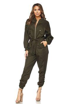 Drawstring Waist Zipper Front Jumpsuit
