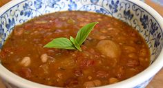 Cajun 15-Bean Soup. Yummy, nearly fat free, filling, and meatless. It makes a large pot. So I froze some in quart jars for the freezer like I do with a lot of soups. It helps me keep on track.