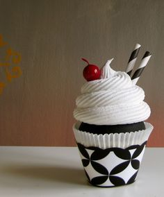 Fake Cupcake Black/White Tres Chic Cupcake Collection Tres Chic Black White Sundae Large Standard Size via Etsy