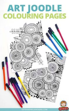 Funky Colouring Page Freebie From Kate Hadfield Designs Download These Abstract Art Joodle Coloring Pages