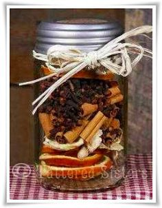 These make the perfect Primitive Gifts, great as hostess gifts or just something to surprise a friend.  Ingredients Dried Orange Slices Ginger Root chunks Cinnamon Sticks Whole Cloves Whole Allspice You will also need your choice of Mason Jars and some raffia for the jar lid.
