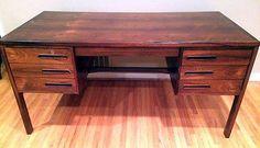 Scandinavian Mid-Century 6 Drawer Rosewood Desk 1950's from Denmark