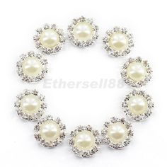 10x Crystal SnowFlake Buttons Flatback For Scrapbooking Hair Bow Craft 14mm