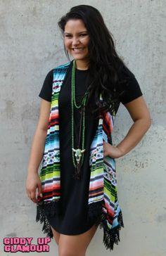 Miracle Mile Serape Vest with Lace Trim