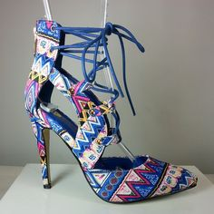 Blue lace-up pointy-toe heel with tribal print  #cutesyoriginals