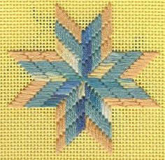 Tennessee Star Needlepoint Quilt Ornament, one of three free designs in linked article, copyright Napa Needlepoint