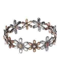 Look at this #zulilyfind! Silvertone & Coppertone Daisy Stretch Bracelet by Mica #zulilyfinds