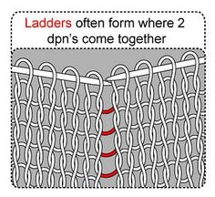 How to avoid ladders with knitting in the round on dpns.
